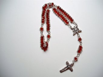 Red Garnet glass with Ave Maria center and Sorrowful Mother Crucifix