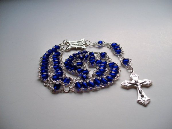 Cobalt Blue Faceted Glass with Ave Maria Center and Grapes Crucifix
