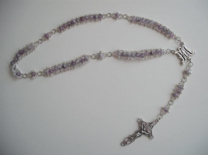 Chevron Amethyst with Ave Maria center and Embellished Crucifix
