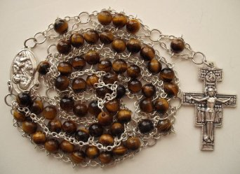 Tiger eye with St. Joseph center and San Damiano crucifix