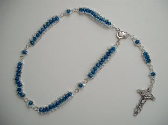 Aqua Faceted Glass with Our Lady of Fatima Center and Embellished Crucifix