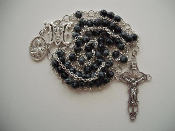 Snowflake Obsidian with Ave Maria center, St. Therese medal and Embellished crucifix