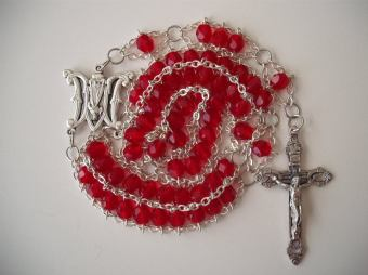 Ruby red glass with Divine Mercy center and Hearts and Roses crucifix