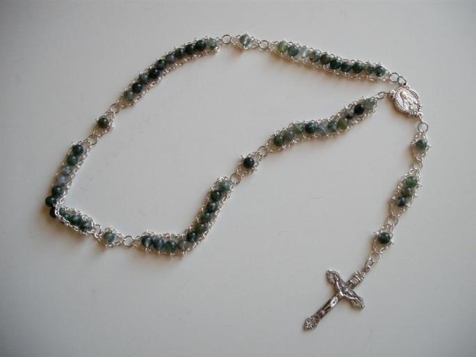 Moss Agate with Sacred Heart/Holy Family center and Hearts and Roses crucifix