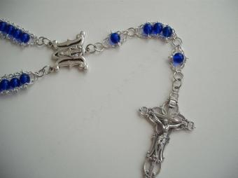 Cobalt Blue druk glass with Ave Maria center and Embellished crucifix