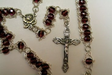 Amethyst faceted glass with Rose center and Hearts and Roses crucifix
