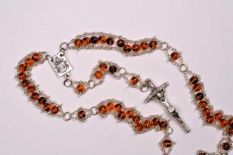 Tortoise Druk Glass with JPII center and Papal Crucifix